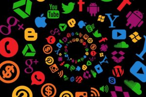 Spirale di icone social media